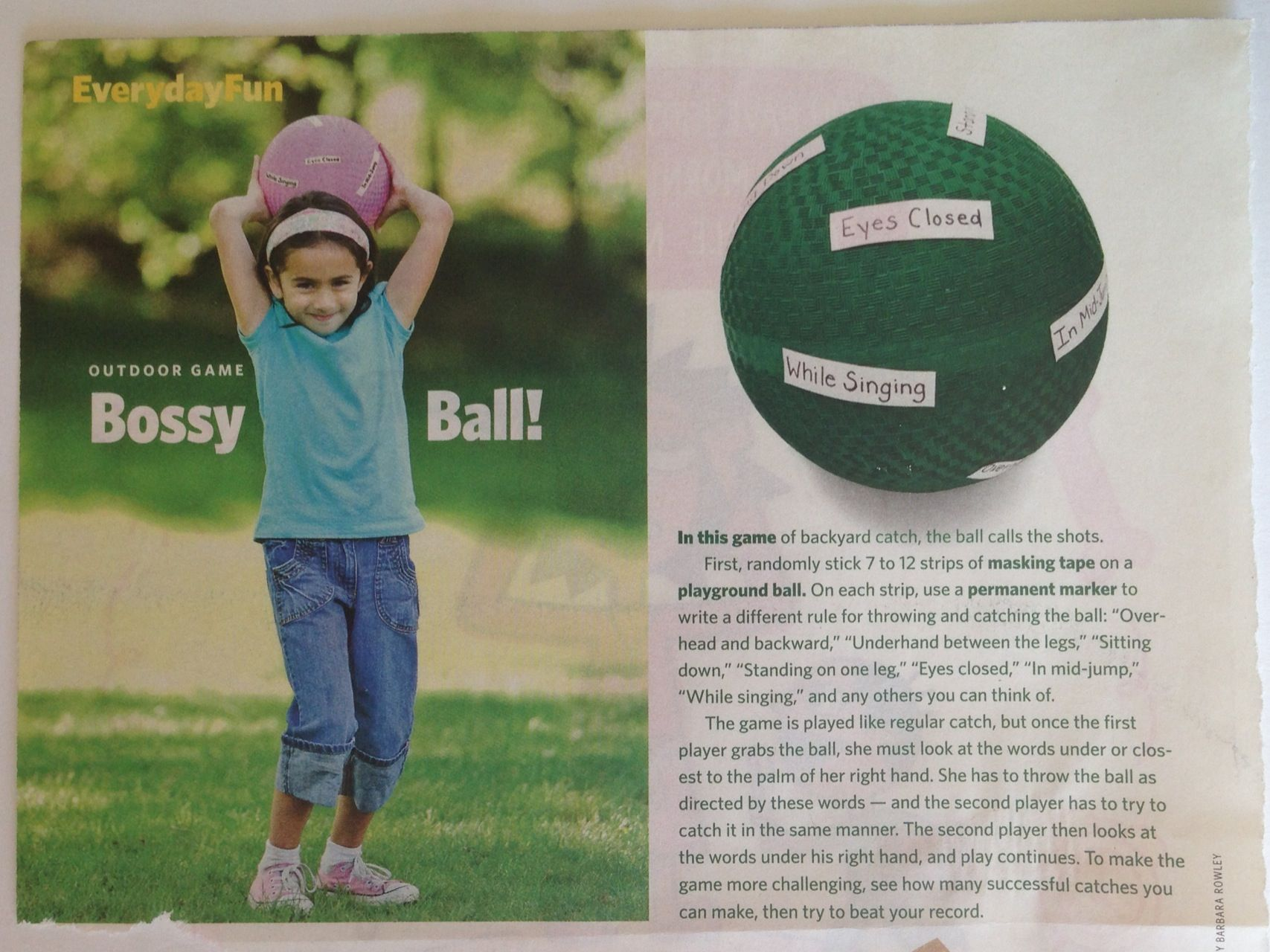 Bossy Ball Activity From Family Fun Magazine