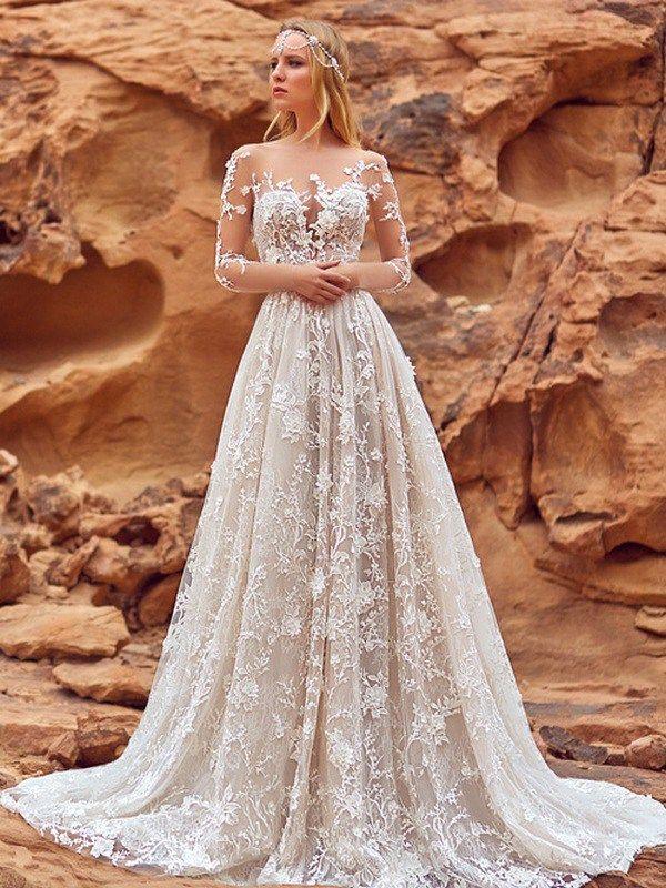 Vestido De Casamento Noiva 2020 Elegante Tamanho Plus País Estilo Apliques Florais 3D A Linha De Vestidos De Casamento Bohemian Vestidos De Noiva Para
