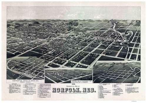 Norfolk, Nebraska 1889 Bird's Eye View Birds eye view