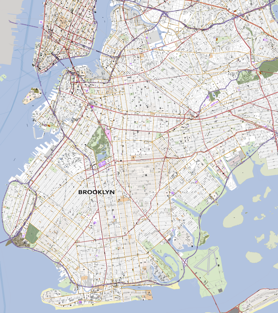Detailed Vector Map of Brooklyn New York City City maps City