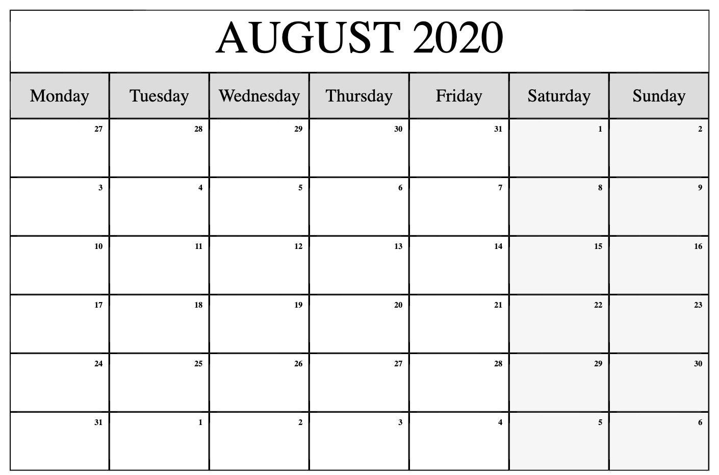 Free Blank August Calendar 2020 Printable Template