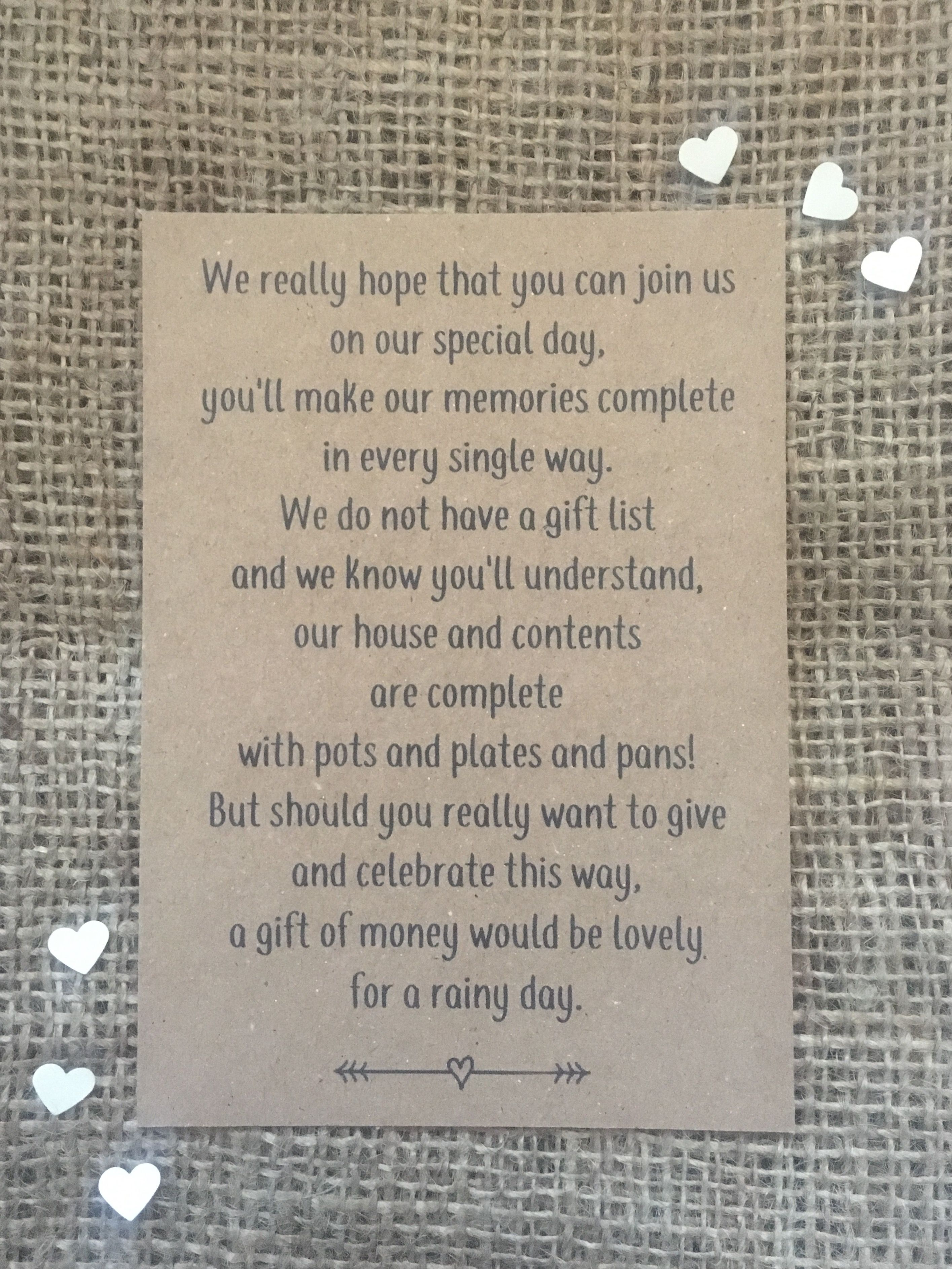 Wedding Money Poem Polite Way Of Asking For Rather Than Gifts Invitation