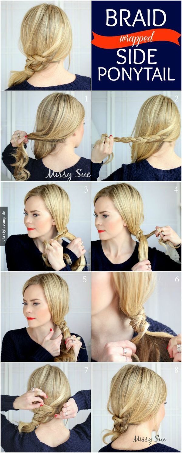 Braid Wrapped Side Ponytail