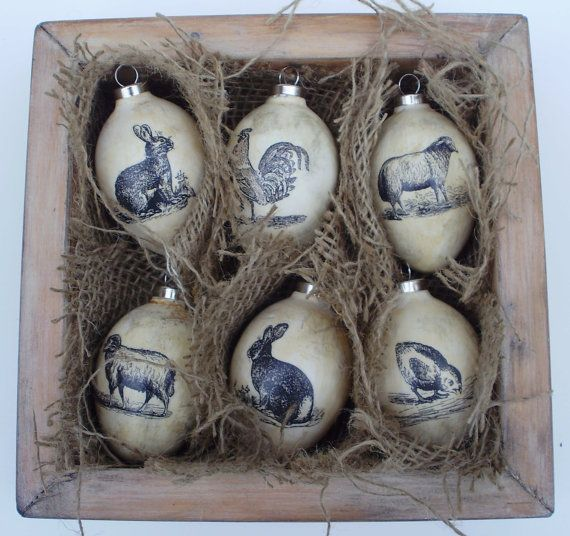 Vintage Style Set Of 6 Terracotta Easter Eggs Easter Egg Ornament Easter Decorations In Wooden Box Handcrafted