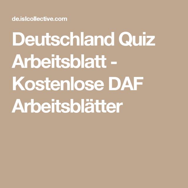 Deutschland Quiz Arbeitsblatt - Kostenlose DAF Arbeitsblätter ...