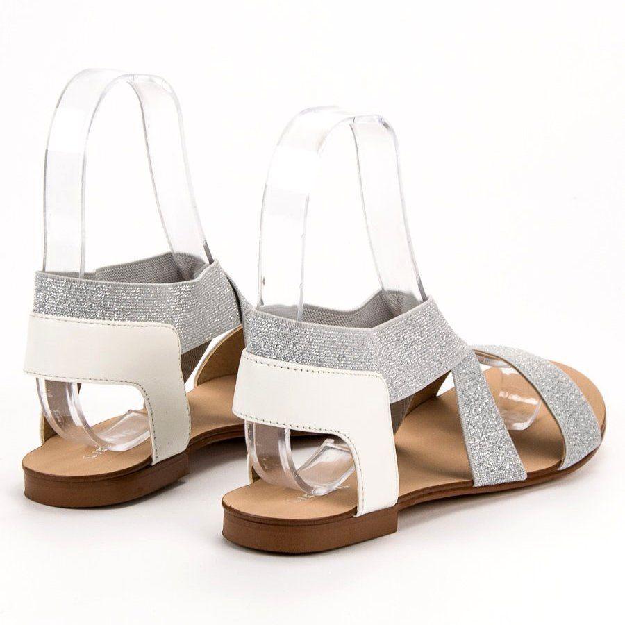 Shelovet Eleganckie Plaskie Sandaly Szare Shoes Fashion Sandals