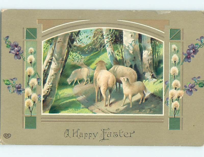 Divided-Back Easter CUTE BABY LAMB WITH SHEEP o5614 #Easter