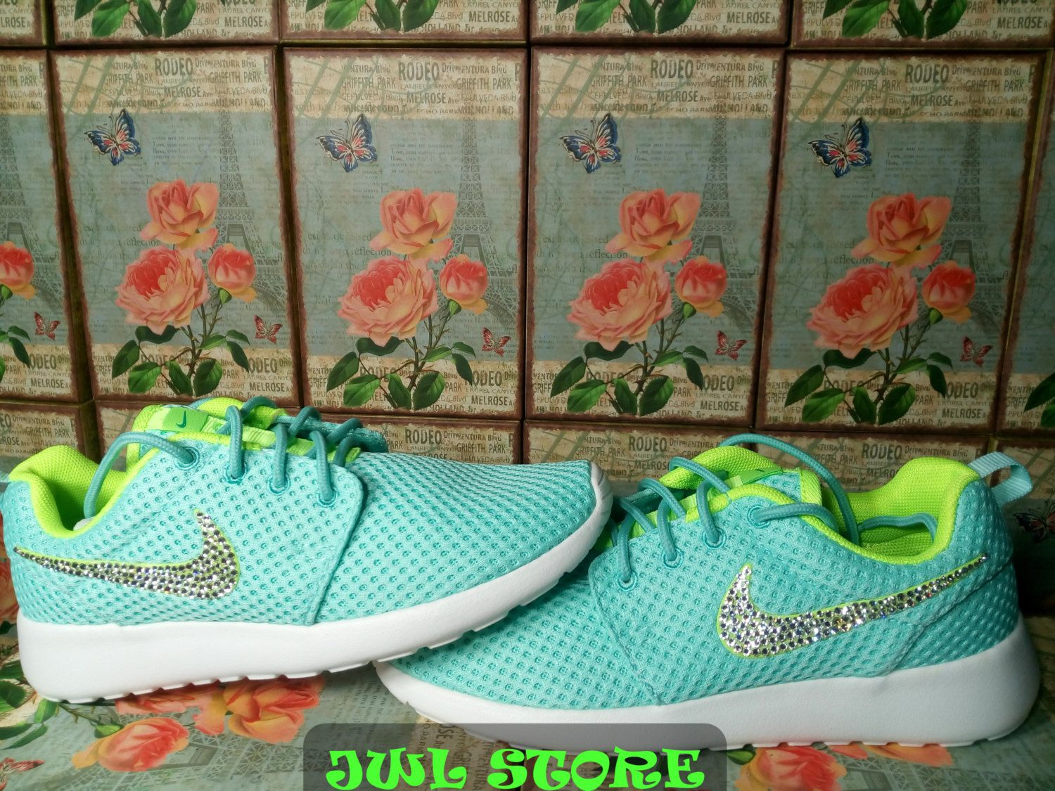 3f2caf96d950 sale 20% off last pair swarovski blinged nike roshe run women shoes light  green color customized with swarovski crystal athletic shoes by jwlstore on  Etsy