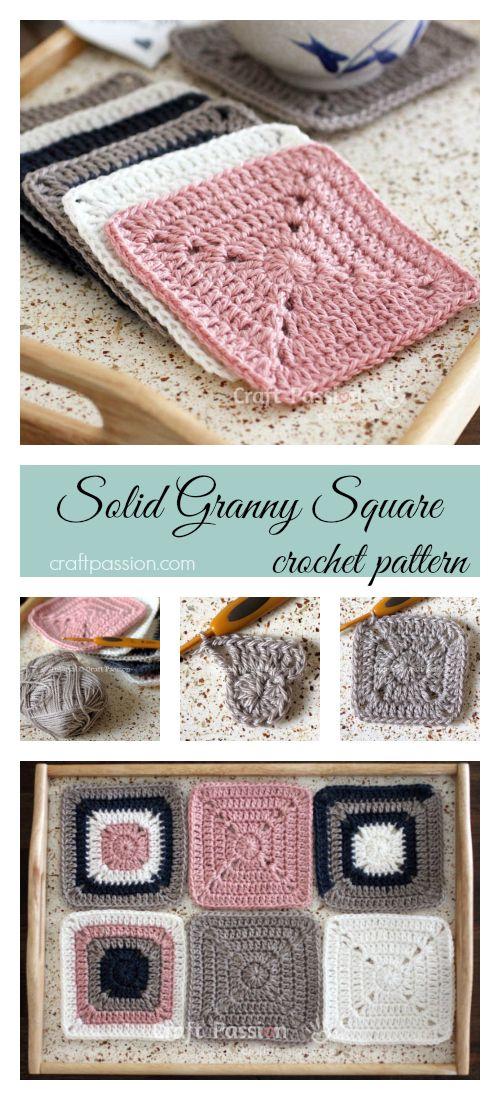 Solid Granny Square - Free Crochet Pattern | Cuadrados, Tejido y ...