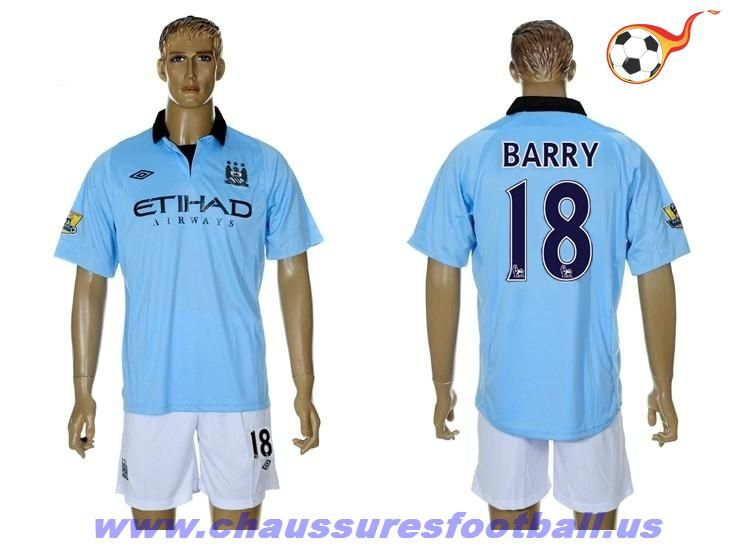 Manchester City Maillot Barry 18 Domicile 2012-2013 FT7769