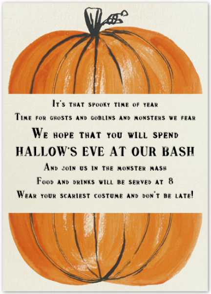 cute halloween party invitation with a poem - Cute Halloween Poem