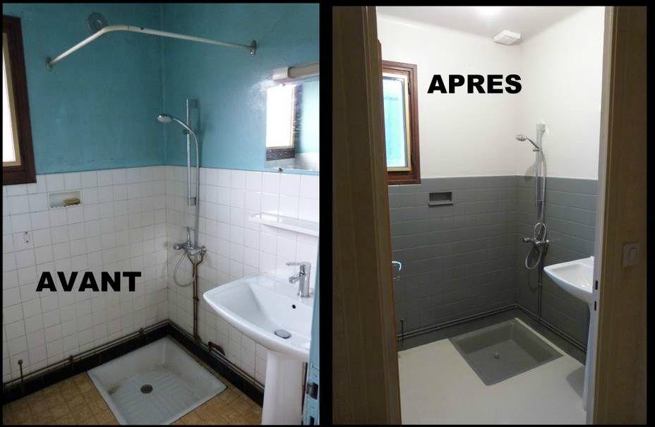 Avant   Après  Transformer un WC et un cabinet de toilette en une - blanchir joint salle de bain