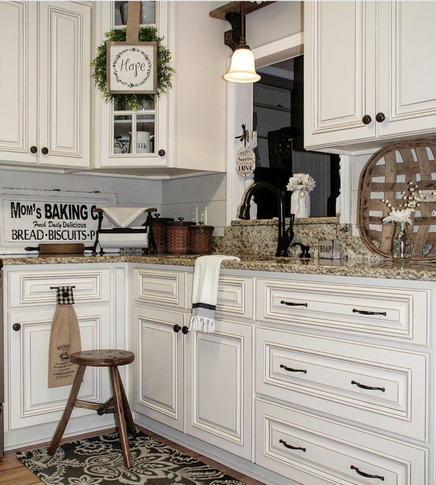 Modern farmhouse kitchen .Light and bright with wood brown