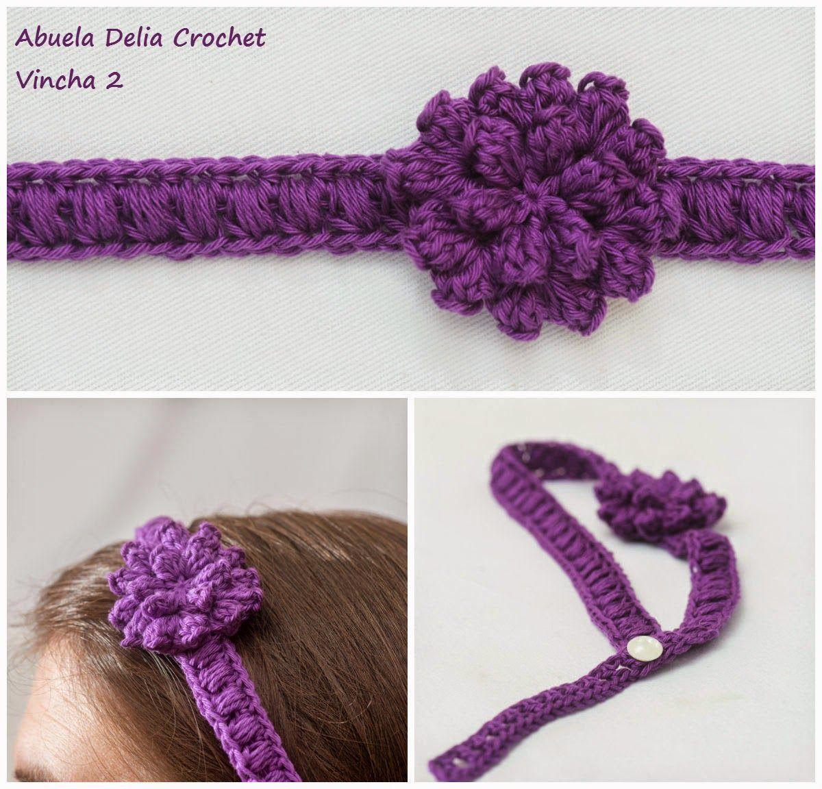 Abuela Delia Crochet: Vinchas para el Cabello con Flores | Headbands ...