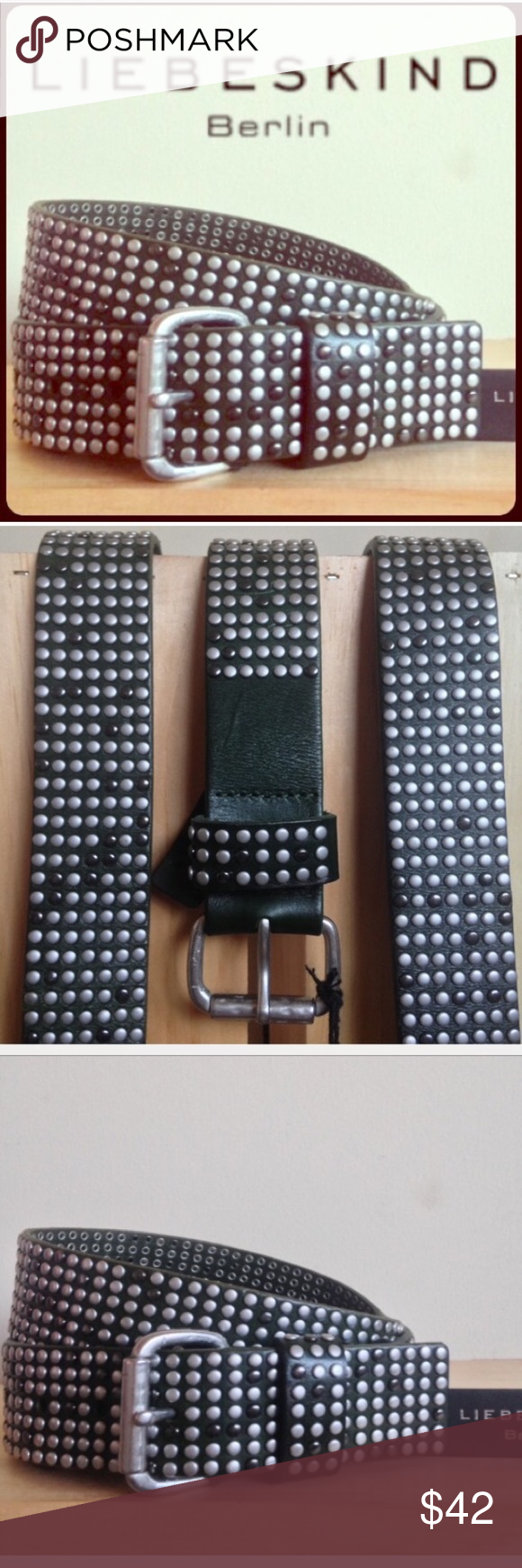 Liebeskind Studded Vintage Vachetta Leather Belt S This leather belt is perfect for that rock'n'roll look. Wear with faded jeans boyfriend cut or skinnies... authentic vintage finish with countless studs. Sturdy leather vintage finish Adorned with various studs Small pin buckle matt brushed finish Adjustable w/5 holes Width: 4 cm 100% cowhide leather                                             Size is 80cm   New with tag Liebeskind Accessories Belts