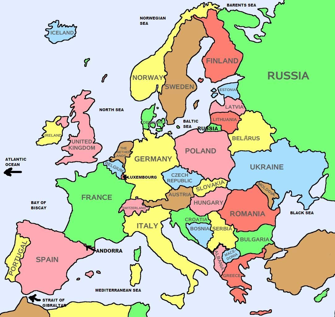Basic Countries Only Map Of Europe