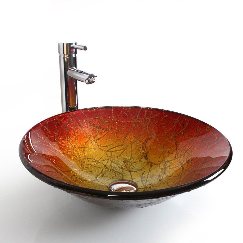 Modern Fashion Round Tempered Glass Sink Faucet Not Included