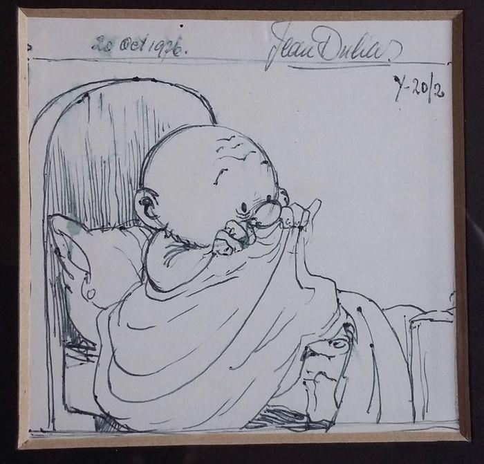 Tekening in balpen, gesigneerd en gedateerd 20 oct. 1976 en met aanduiding y-20/2. Afmetingen: 9 x 9 cm., afmetingen lijstje: 19,5 x 19,5 cm. De tekening is in uitstekende conditie, het lijstje rondom wat gebutst.