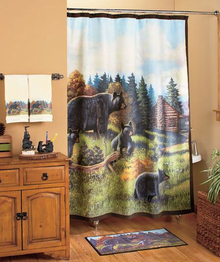 Hunting Rustic Black Bear Shower Curtain Rug Toilet Bathroom Bath Mat Decor Set