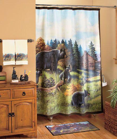 Hunting Rustic Black Bear Shower Curtain Towel Toilet Bathroom Bath Mat Decor Shower Curtain Sets Bath Accessories Bathroom Bath Mats