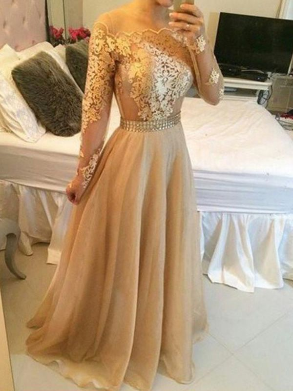 Organza Langärmeliges Kleid Abendkleid champagner | Wedding dresses ...