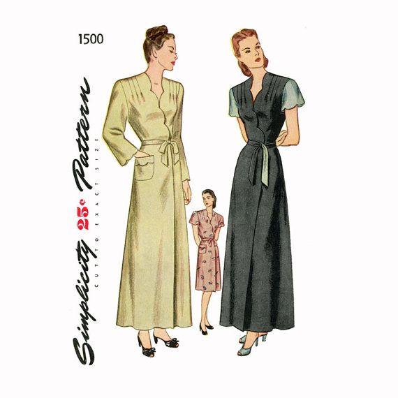 1940s Housecoat Pattern Simplicity 1500 Bust 32 Scallop Neckline ...