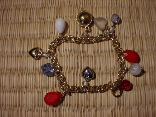 7.5 Inch Gold-tone Fashion Bracelet with Charms + Findings
