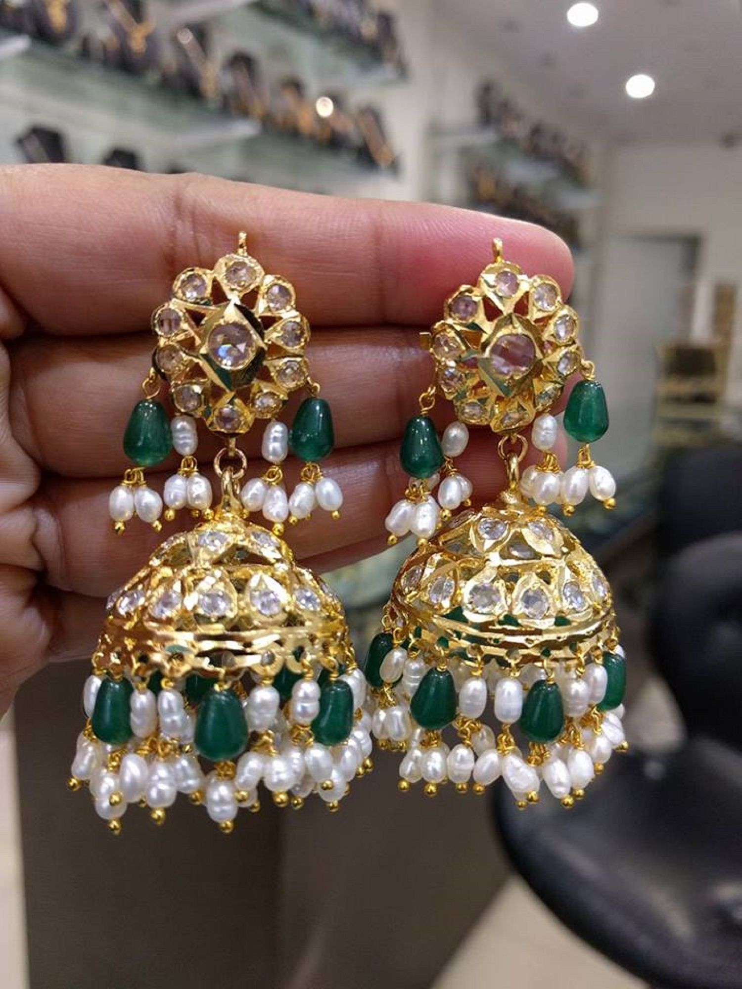 Beautiful jhumkasearrings with uncut diamonds pearls