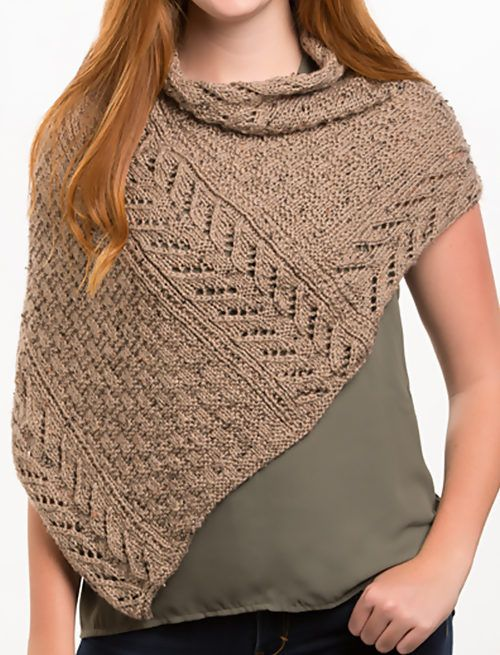 Free Knitting Pattern for Earthtone Shoulder Cozy - Asymmetric lace ...