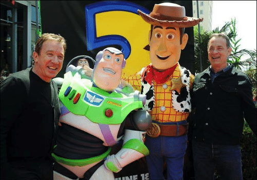 Tim Allen [as Buzz Lightyear] & Tom Hanks [as Woody] (Voices by Unknown) #ToyStory