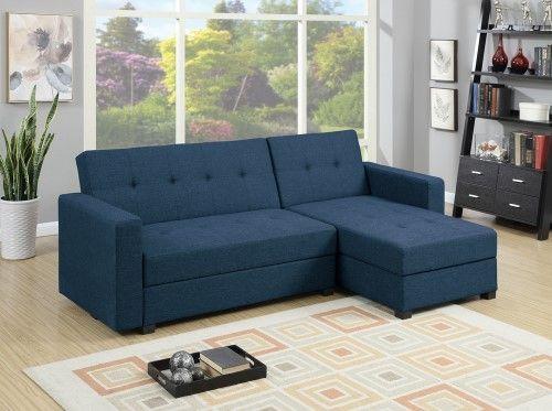 Best Polyfiber Fabric 2 Piece Adjustable Storage Sofa Set Blue 400 x 300
