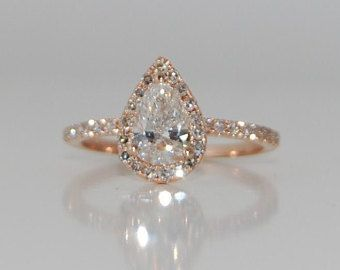 Engagement Ring Peach champagne Sapphire Engagement Ring 14k Rose Gold 3.3ct, Pear Cut Peach Sapphire Ring. Engagement ring by Eidelprecious