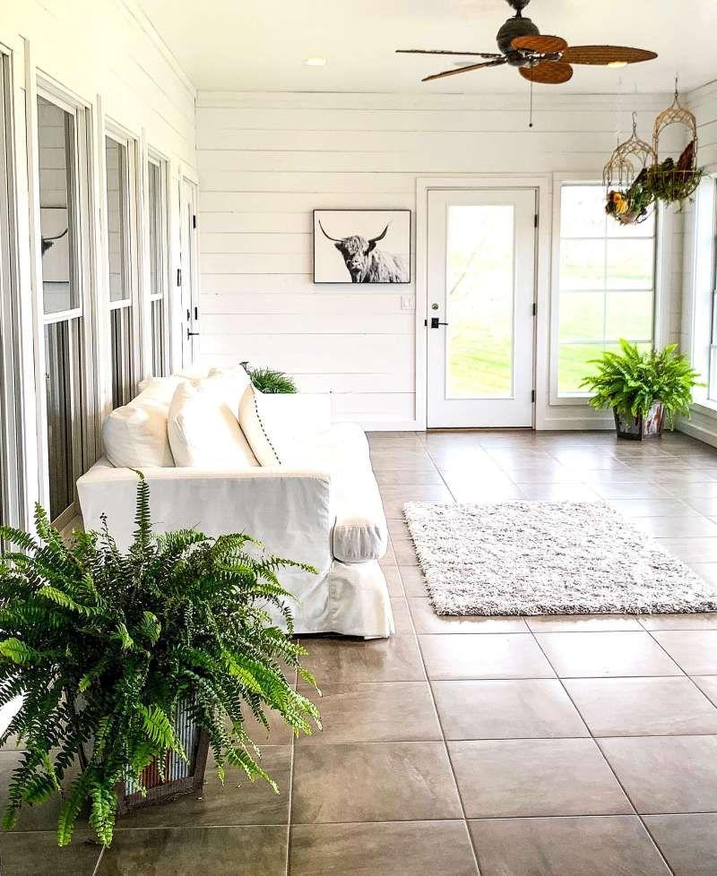 Cozy Farmhouse Sunroom Live christmas trees, Simple