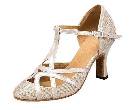 782b701ac6f2 Comprar Ofertas de Minitoo QJ6133 – Zapatos de bailes latinos para mujer,  dedos cerrados, piel sintética, con purpurina, tacón alto, correa en T  barato.