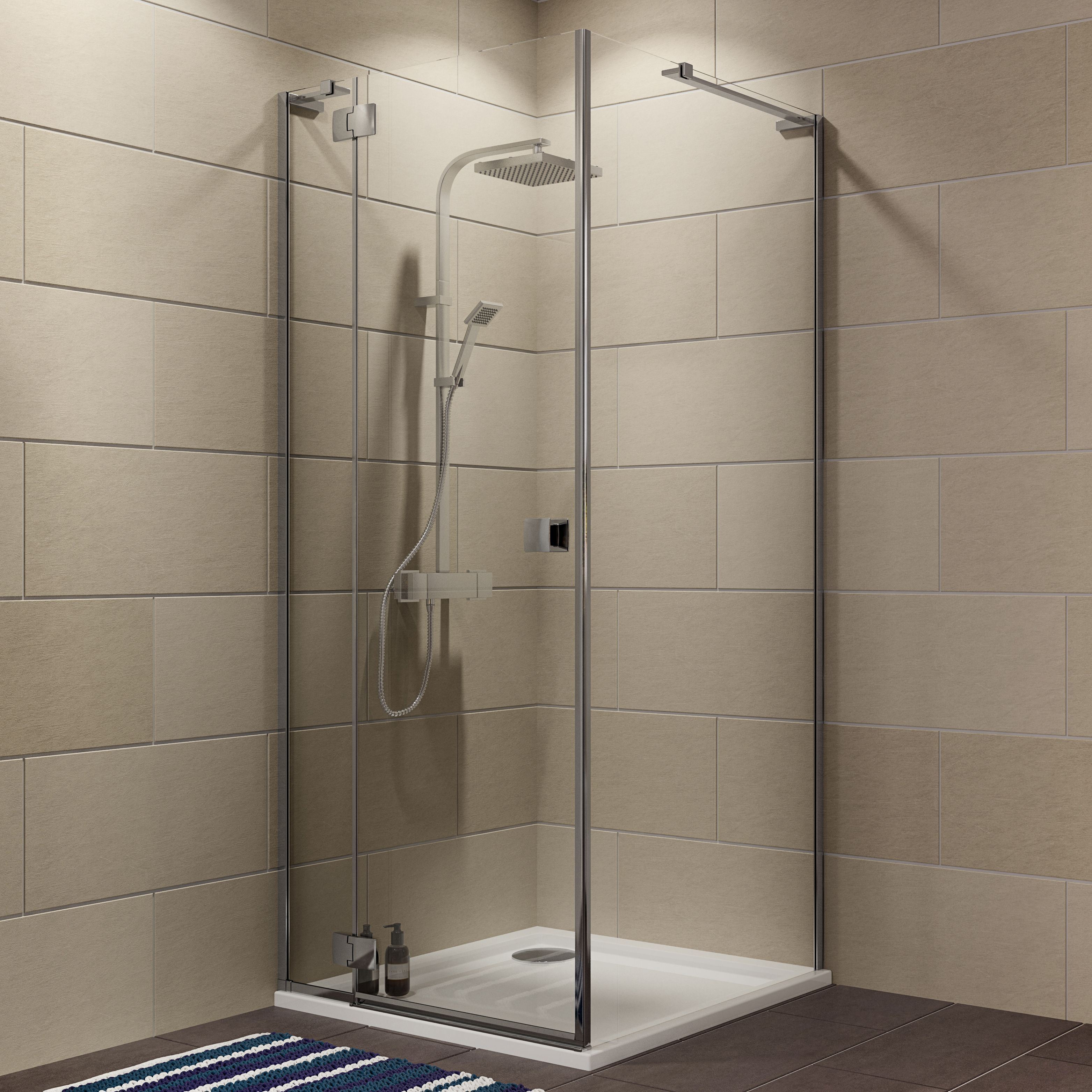 Cooke & Lewis Luxuriant Square Shower enclosure, tray & waste pack ...