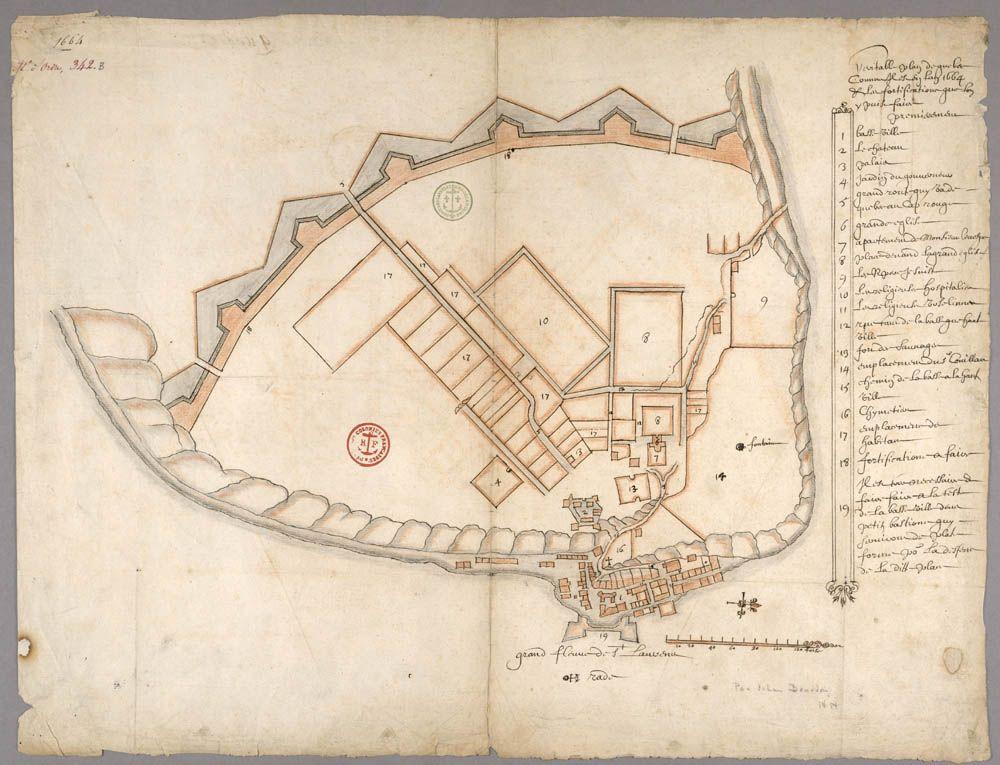 veritable plan de quebec comme il est en l an 1664 ch teau saint louis wikip dia quebec. Black Bedroom Furniture Sets. Home Design Ideas