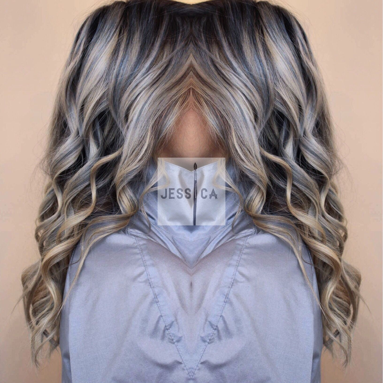 Icy Blonde Strands With Grey Blue Lowlights Icy Blonde Gray Hair Highlights Light Blue Hair