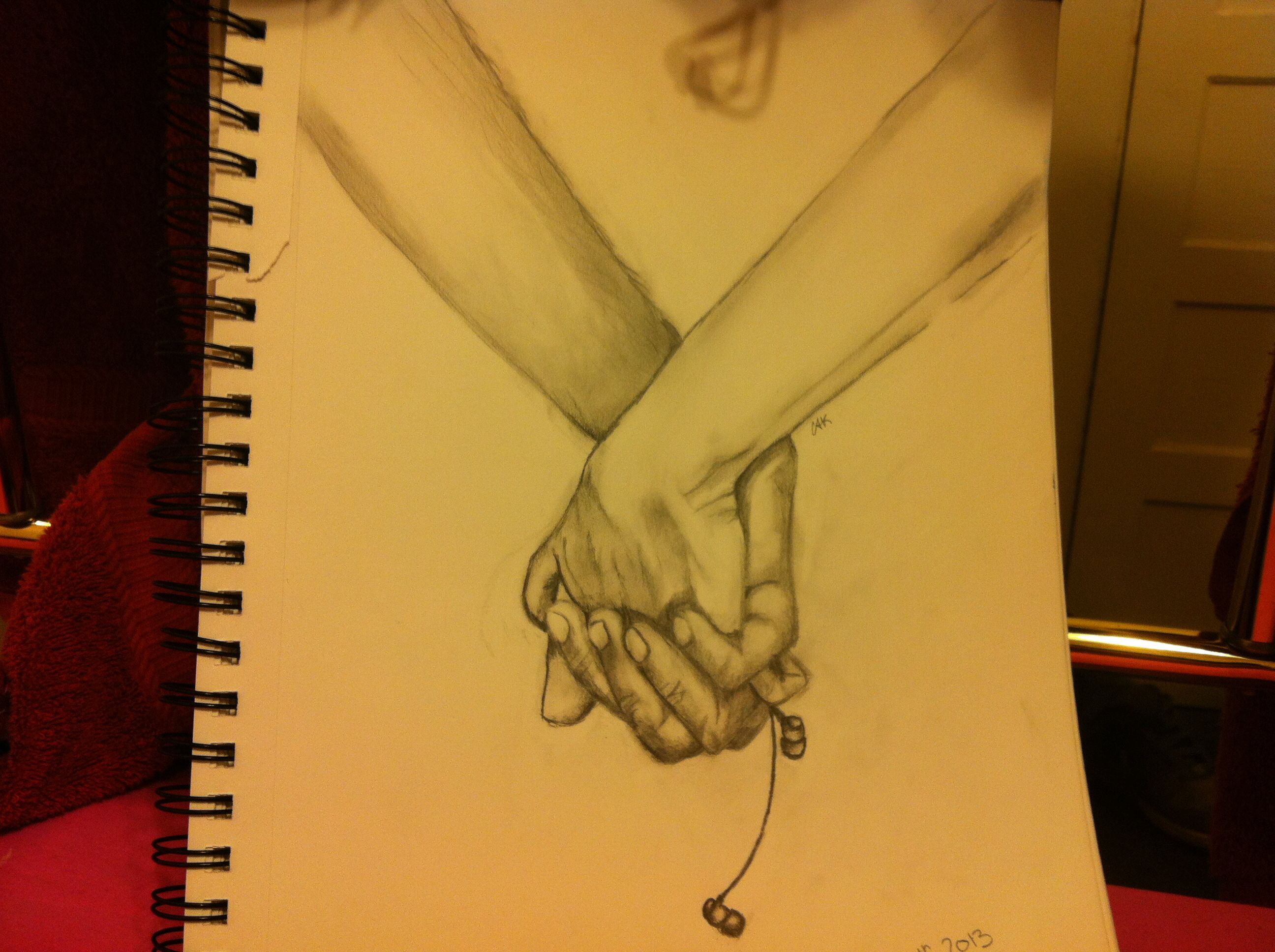Music is love sketch holdinghands earphones cute relationship