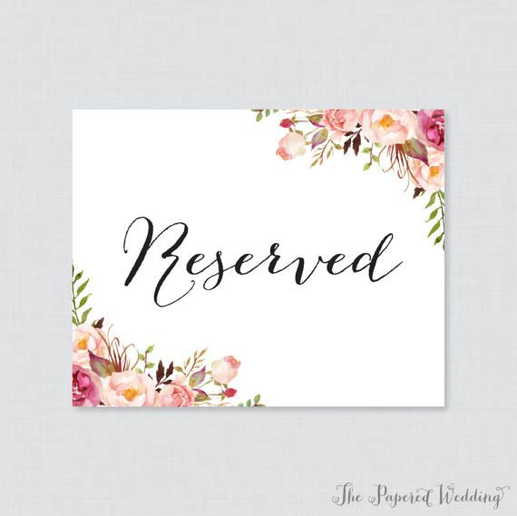 Printable Wedding Reserved Signs Pink Fl