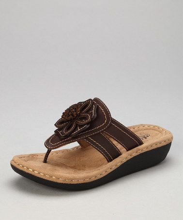 197e9a8076d9 Take a look at this Brown Rosette Carnation Thong Sandal by Cliffs by White  Mountain on  zulily today!