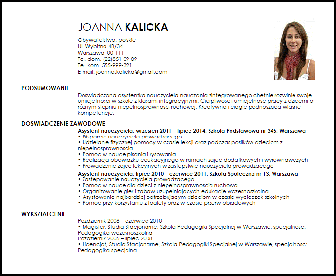 Wzór CV Asystent nauczyciela Program nauczania