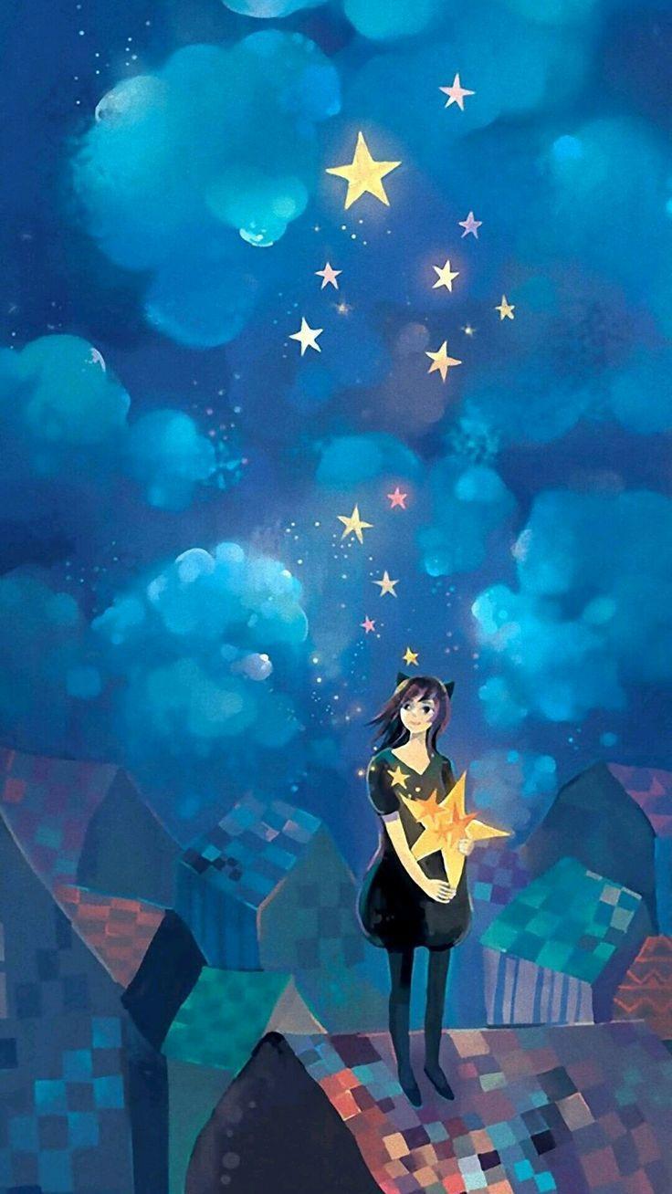 Картинки по запросу girl catching a star | Art, Star art ...
