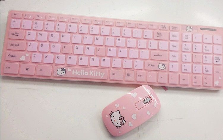 258abfab65b Wireless Hello Kitty Mice and Keyboard Free Shipping Epacket Ergonomically  Designed PC Peripherals Cute Pink Cartoon Mouse