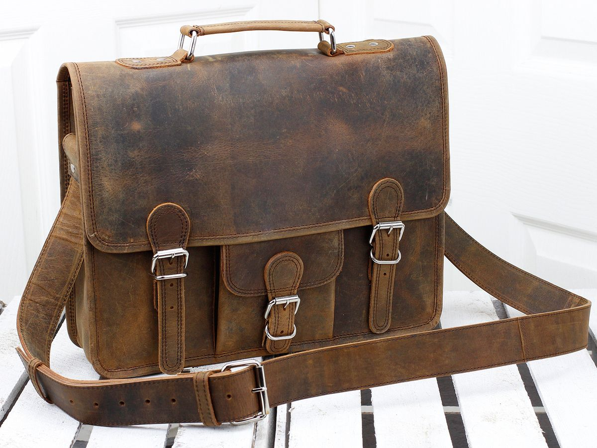 631bbdf43a76 Medium Vintage Leather Satchel 15 Inch With Pocket   Handle Thumbnail