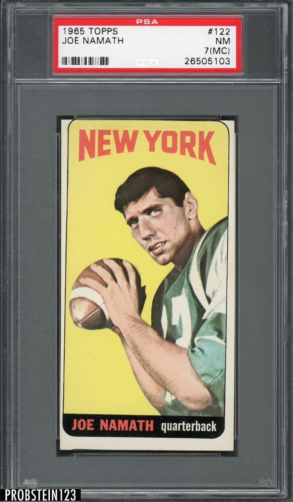 christmas gifts 1965 topps football 122 joe namath new york jets rc rookie hof psa 7