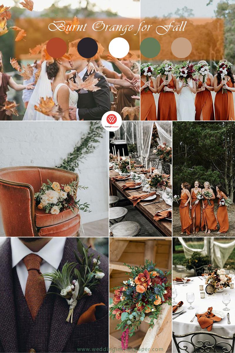 Burnt Orange And Grey Wedding