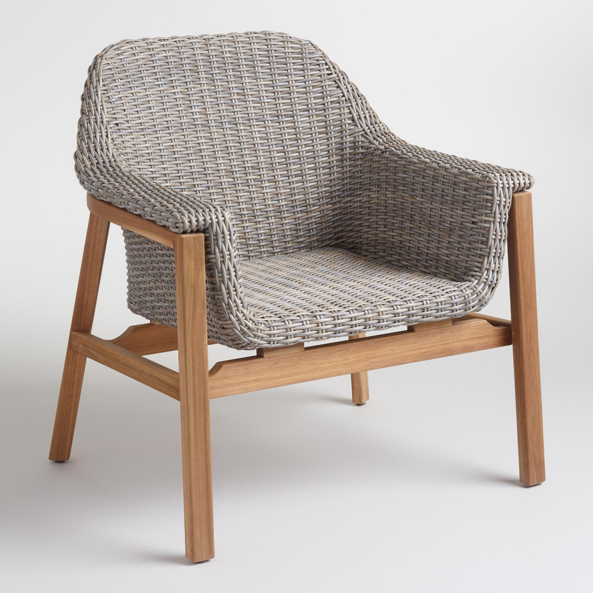 Our contemporary armchair boasts gray weather resistant wicker
