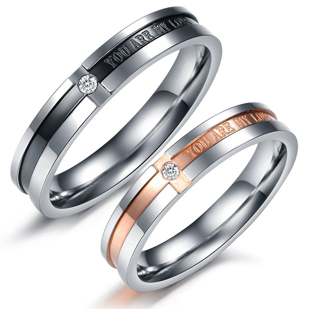 Opk Korean Lover Jewelry Anium Wedding Bands Rings Men And Women S Promise Ring Sets
