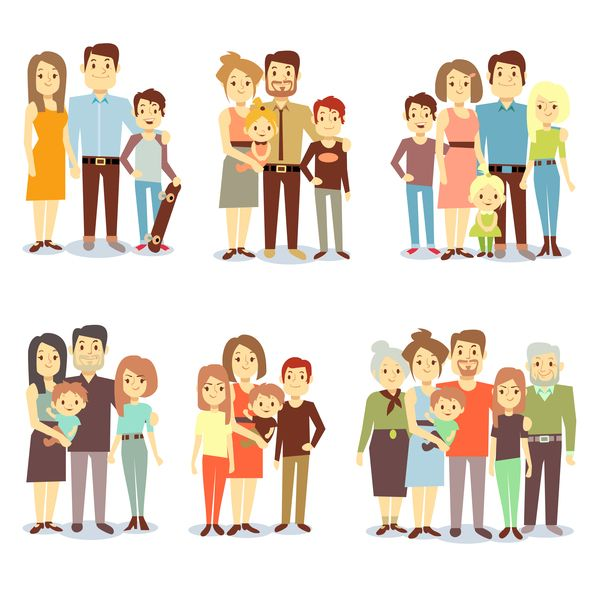 Happy Family Cartoon Illustration Vector 03 With Images Family