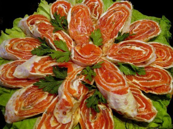 рецепт рулетов из лаваша и семги